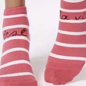 "Kate Spade sz 4-10 Stripe ""C'est la Vie""AnkleSocks"